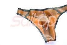 Slip homme latex caoutchouc string en marron transparent et noir