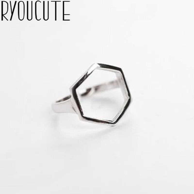 Anillos regalos hexagonales bohemios de Color plateado auténtico para mujer, anillos de boda para mujer, anillos antiguos ajustables de moda, joyas de plata