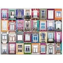 5D bricolage diamant peinture portugais fenêtres plein diamant broderie point de croix ville paysage strass mosaïque cadeaux de noël