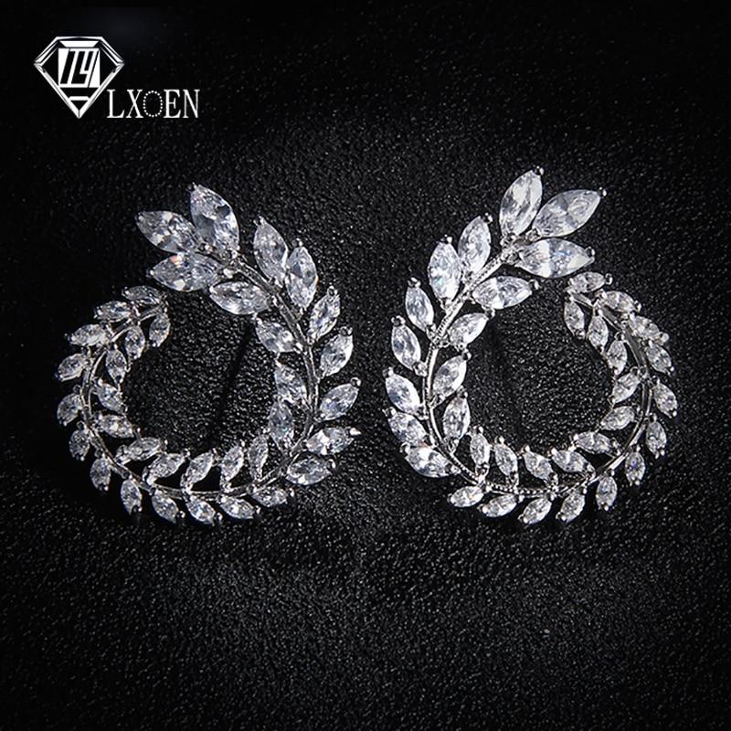 LEXON Luxury Olive Branch Cubic Zirconia Stud Earrings For Women White Gold Color Trendy Brand Earrings Brincos Gift E119