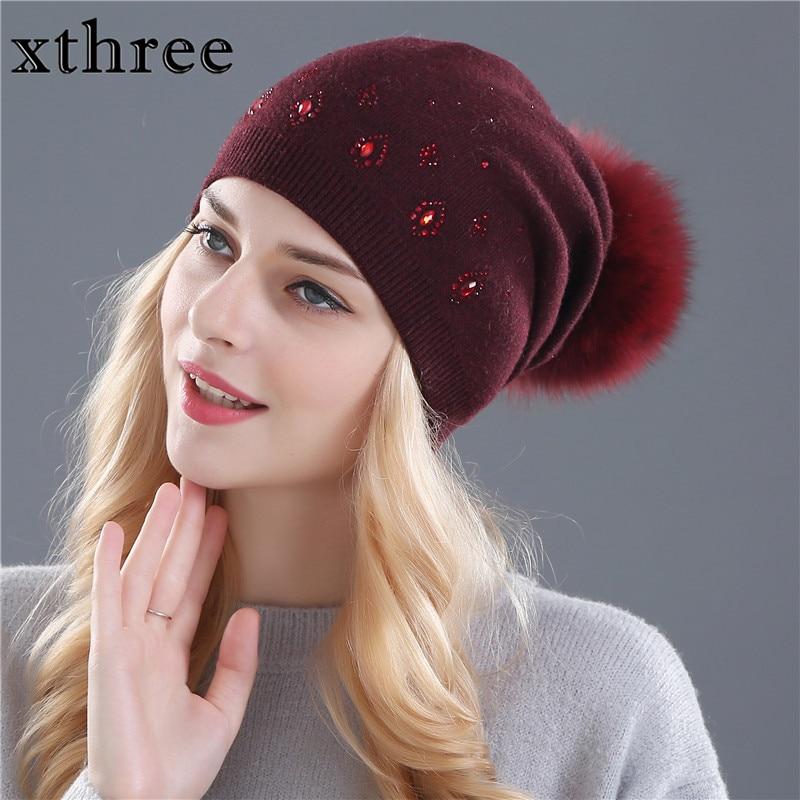 Женские зимние шапки Xthree, вязаные шапки из шерсти и меха кролика со стразами