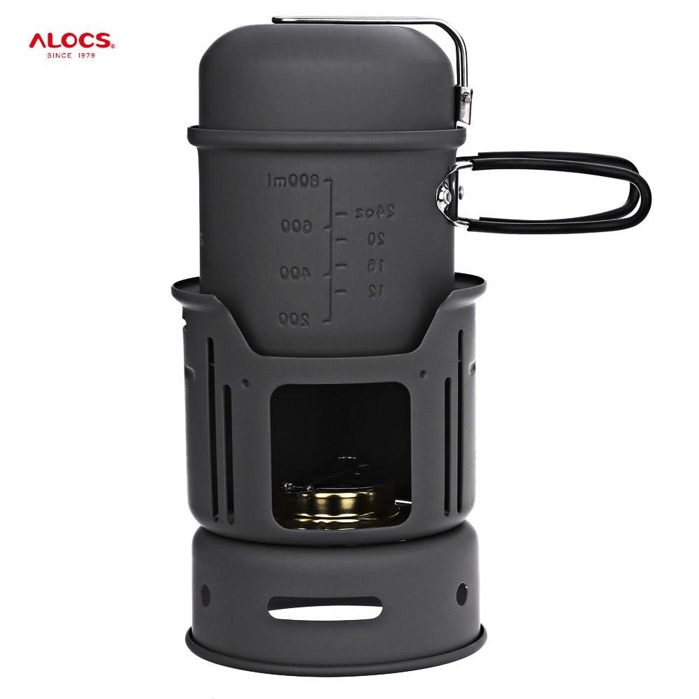 Портативная плита для кемпинга ALOCS CW-C01, 1 - 2 человека, 7 шт., набор для приготовления пищи с кастрюлей, спиртовой плитой для пеших прогулок, пикника