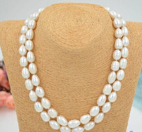 "Collar de perlas cultivadas de agua dulce, color blanco, arroz, 11-13mm, 2row 17 ""~ 18"""