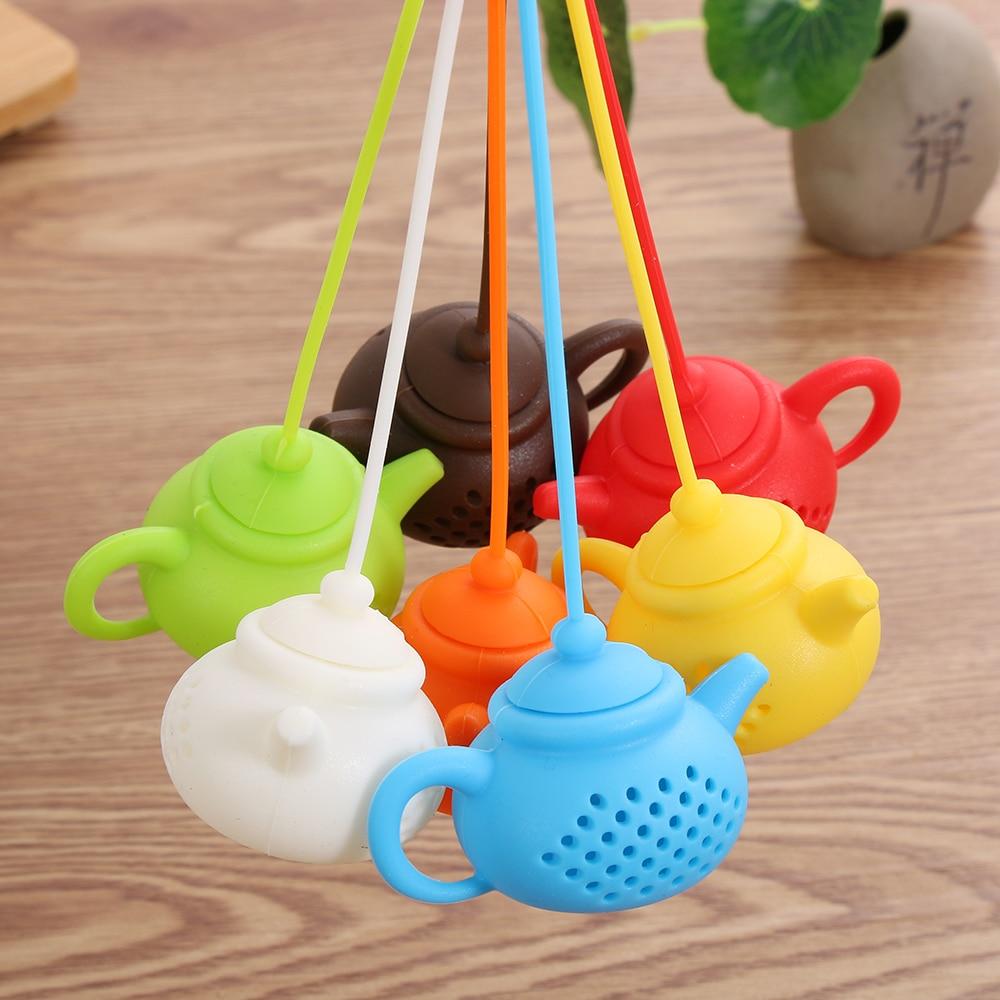 1 Uds. Colador Infusor de té duradero en forma de tetera, bolsa de té de silicona, difusor de filtro de hoja, utensilio de cocina, accesorio para tetera