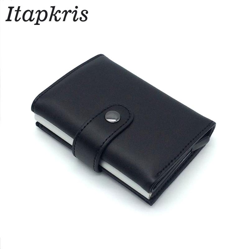 Автоматический держатель для карт, дорожный алюминиевый мужской кошелек RFID, всплывающее блокирование, защита для денег, держатель для карт из искусственной кожи