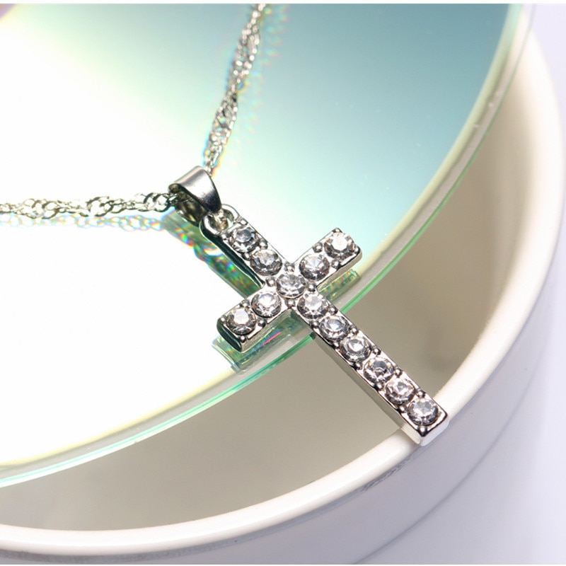 New Silver Plated Cross Pendant Necklaces for Women Fashion Long Necklaces Sweater Accessories Crystal Jewelry wholesale 4ND33