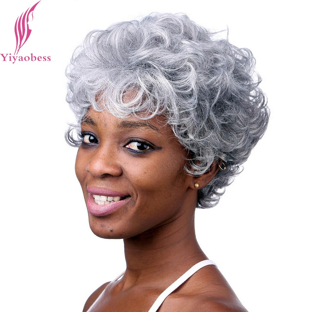 Yiyaobess 6inch Silver Grey Short Curly Wig Heat Resistant Synthetic African American Wigs For Older Women