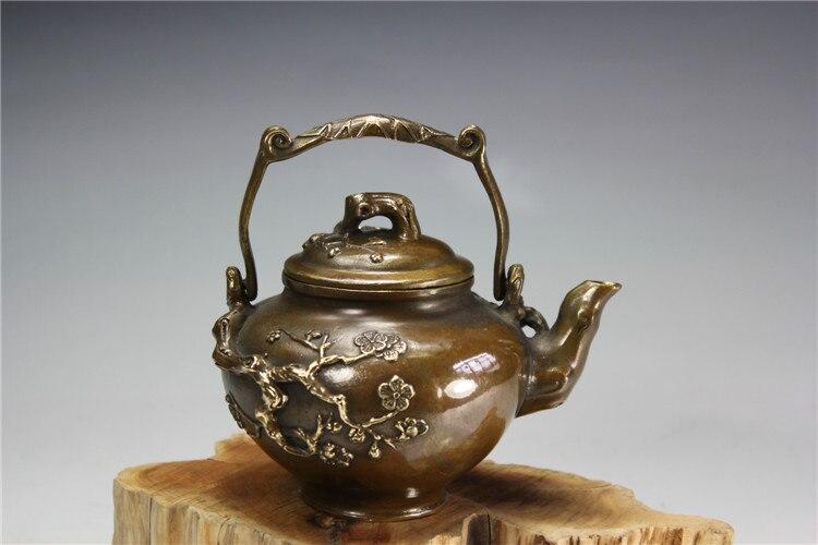 China antiga bronze Kai Mei Wu Fu cobre bule de chá