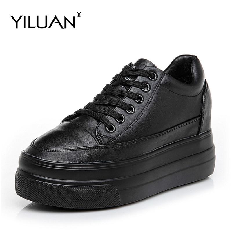 Yiluan-أحذية جلدية نسائية غير رسمية ، نعل مافن ، أحذية رياضية عصرية ، مجموعة خريف 2019 الجديدة