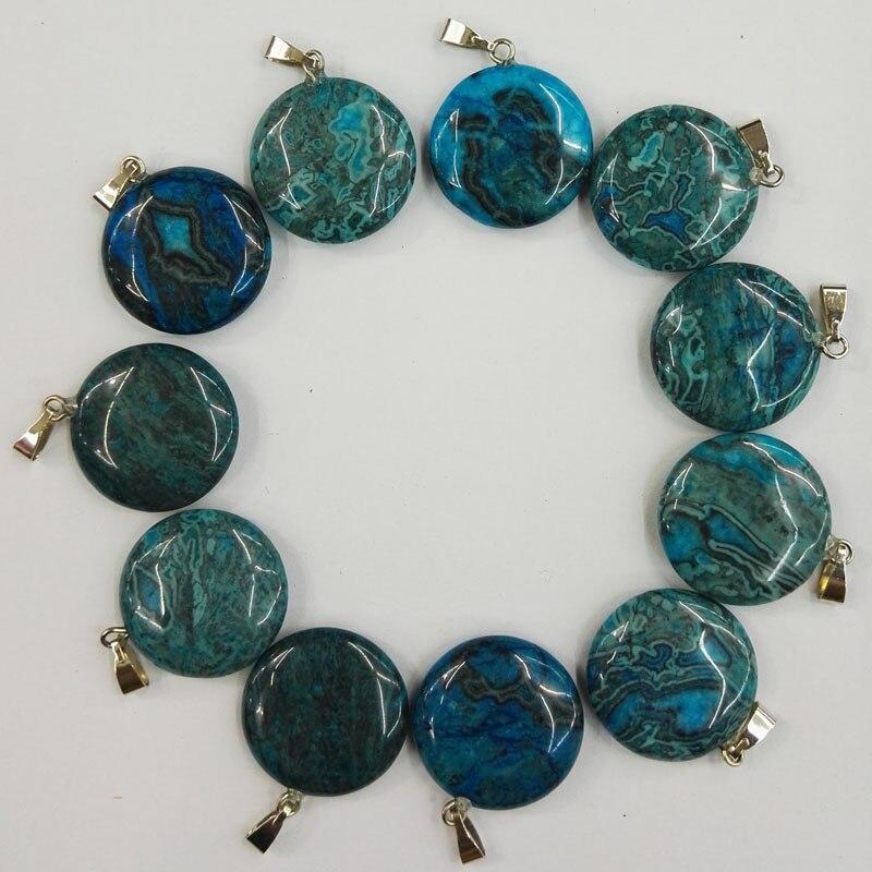 Colgante de Piedra redonda natural ónix azul de 20MM a la moda para hacer joyas dijes collar de piedra colgante 50 unids/lote envío gratis