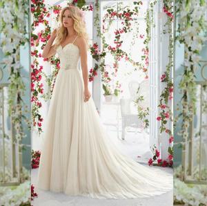 Fariy sash weddding dresses sweep train bridal gown elegant Bridal dress backless fine Wedding dresses robe de Vestido de noiva