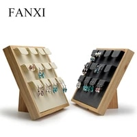 oirlv solid wood beigedark gray earring display stand with microfiber insert for exhibition ear stud display props organizer