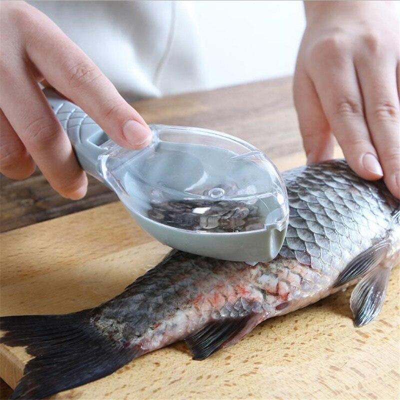 Cepillo raspado de escamas para pescado de cocina, cepillo rápido de plástico para pesca, raspador de limpieza con caja de almacenamiento, pelador de piel de pescado