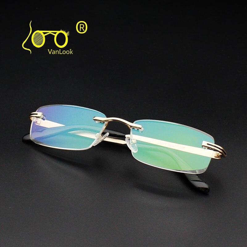 Gafas de lectura para hombre Borde de diamante sin montura + 1,00 1,50 2,00 2,50 3,00 3,50 4,00 antideslumbrante moda gafas negocios