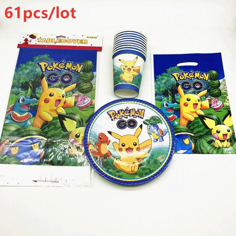 Pokemon Go motyw 61 sztuk chłopiec dla dzieci Birthday Party Pikachu kubek papierowy obrus Event Party Cartoon cukierki torba na prezent dostaw