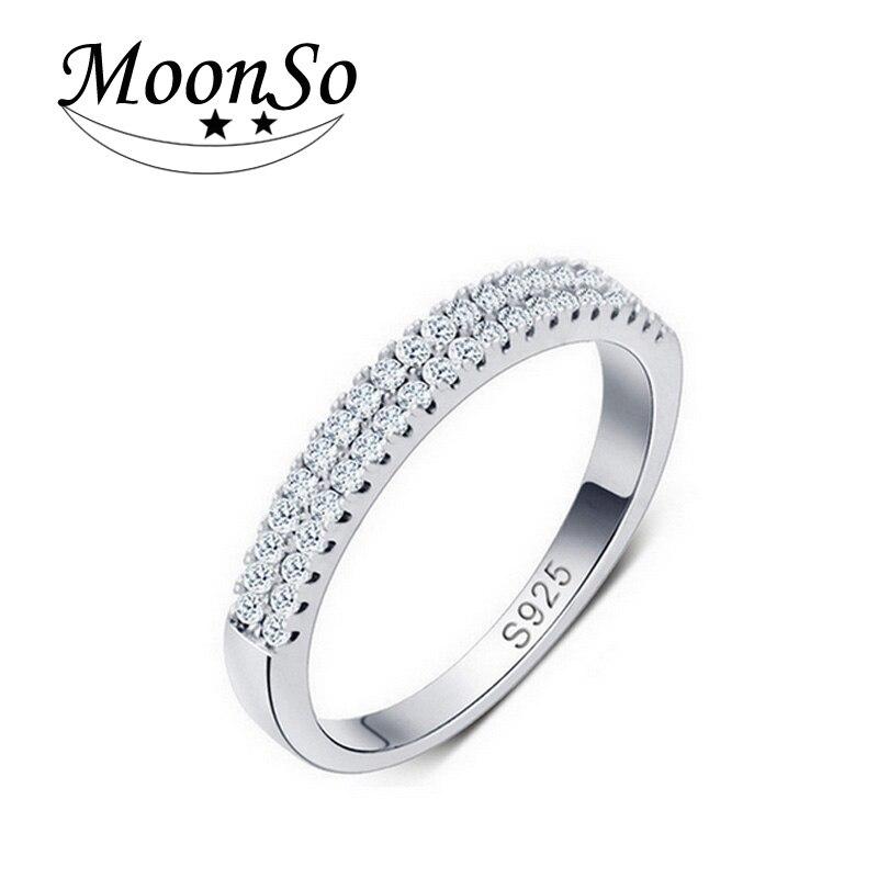 Anillo de compromiso Moonso 2015, anillo de circón de compromiso para mujer, anillo de boda redondo, elegante y elegante, brillos LR217