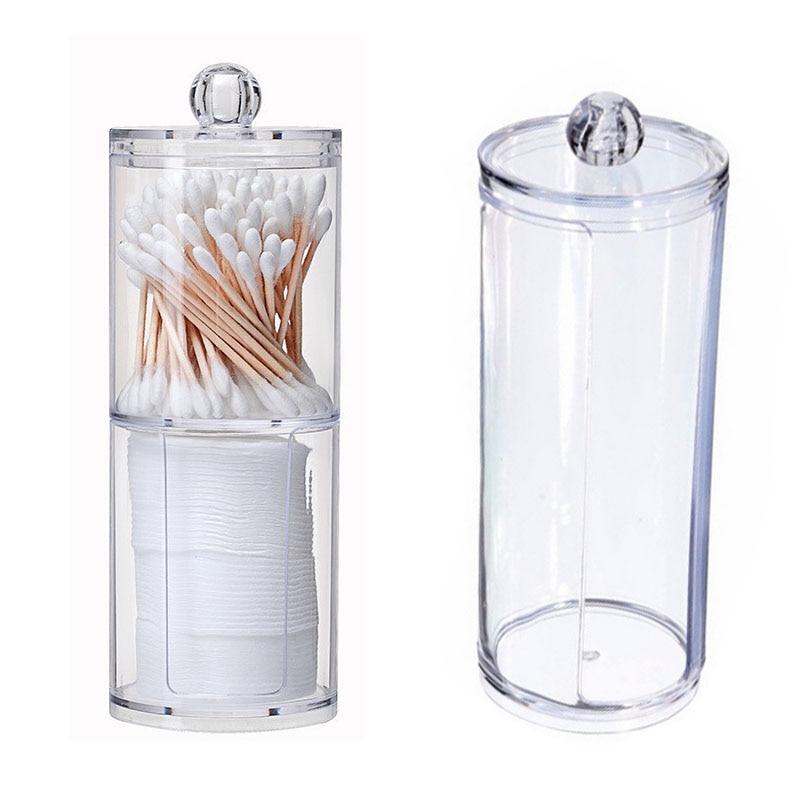 XUNZHE Storage Box Double layer Clear Acrylic Storage Box Holder Transparent Cotton Swabs Stick Cosmetic Makeup Organizer Case