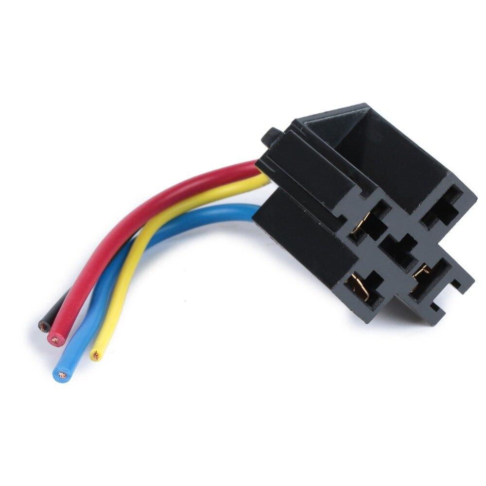 5 uds toma de relé de coche 12V 30A 40A 4 clavijas 4 cables relé enchufe 4 Pin Kit para ventilador eléctrico bomba de combustible luz Universal DIY