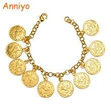 Anniyo longitud 22CM/Turkey moneda pulsera para mujeres Color oro turcas Simgesi Osmanli Turasi brazalete árabe joyería Africana #080606