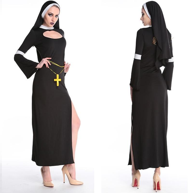 Virgin Mary Nuns Costumes For Women Sexy Long Black Nuns Costume Arabic Religion Monk Ghost Uniform Halloween Cosplay