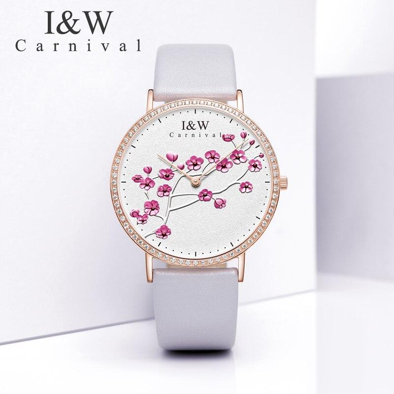Carnival IW Genuine Fashion Trendy Women's Watch Simple Leather Quartz Watch Women's Watch Slim Student College Literary Watch enlarge