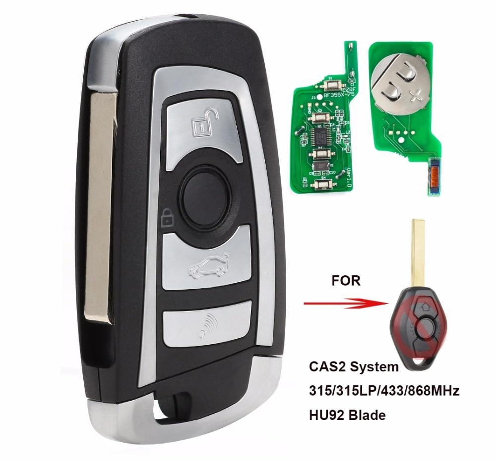 KEYECU CAS2 Flip modificado de llave de control remoto botón 4 315 MHz/433 MHz/868 MHz/315LP PCF7946 E60 para BMW serie 5 E63 Serie 6 FCC: KR55WK47