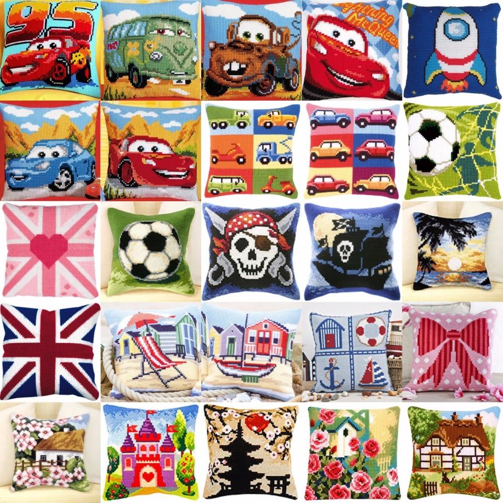 Estilo de coche 01 JCS artesanía cojín impreso punto de cruz Kits tapiz de almohada KIT hogar almohadas decorativas cojín de costura