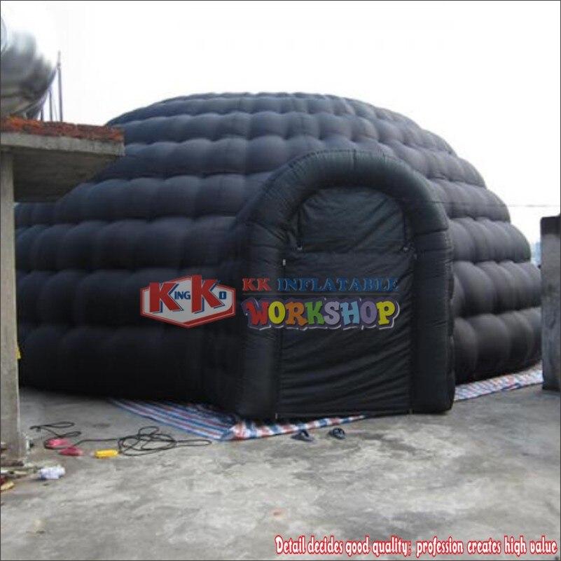 خيمة شتوية على شكل قبة كبيرة قابلة للنفخ باللون الأسود جديدة