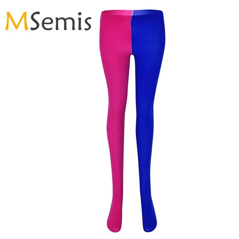 Unissex mulher collants homens meia-calça com pés completos meias para meias femininas dois tonificados jester traje com dedo do pé reforçado