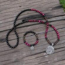 Collier de 8mm avec œil de tigre Rose et perles donyx, avec pendentif Lotus Design JaPaMala, perles 108 Mala, bijoux Mala, perles de prière Mala