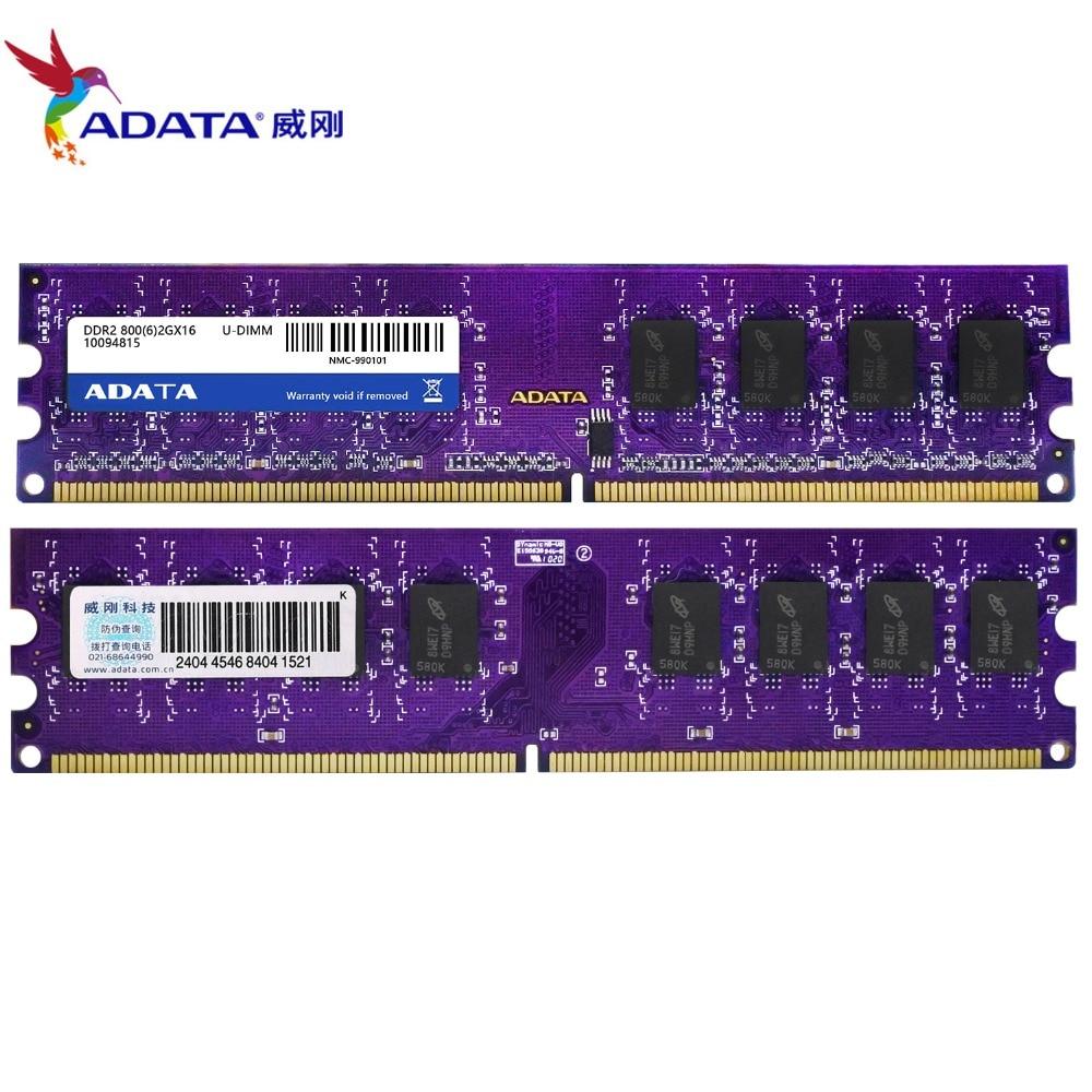 Adata 4 gb (2 pces x 2 gb) ddr2 2 2 gb ram 800 mhz PC2-6400U 240pin 1.8 v cl6 desktop memória
