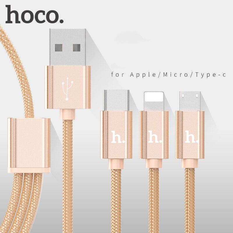 Cable de datos de carga de Metal HOCO, cargador de cable de nylon para Apple Plug iPhone iPad Micro USB tipo C para Samsung Xiaomi 3 en 1 cable 2 en 1