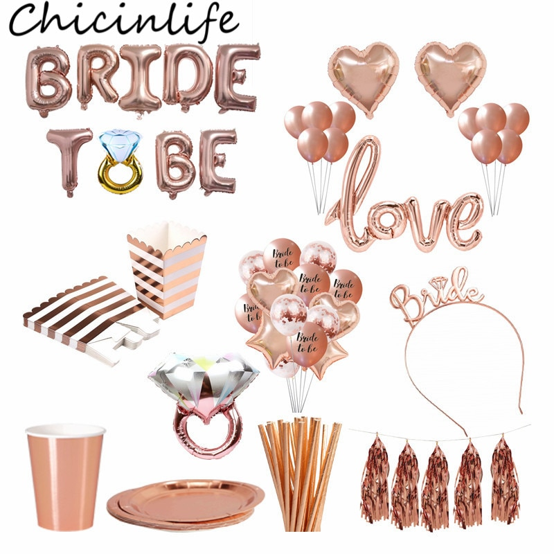Chicinlife Rose Gold Braut Zu Werden Brief Folie Ballon Tiara Krone Stirnband Diamant Ring Ballon Bachelorette Hen Party Supplies
