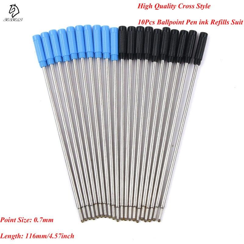 10 unids/lote outlet de fábrica de alta calidad tipo cruzado recargas de tinta azul y negro punta mediana bolígrafo suministros escolares