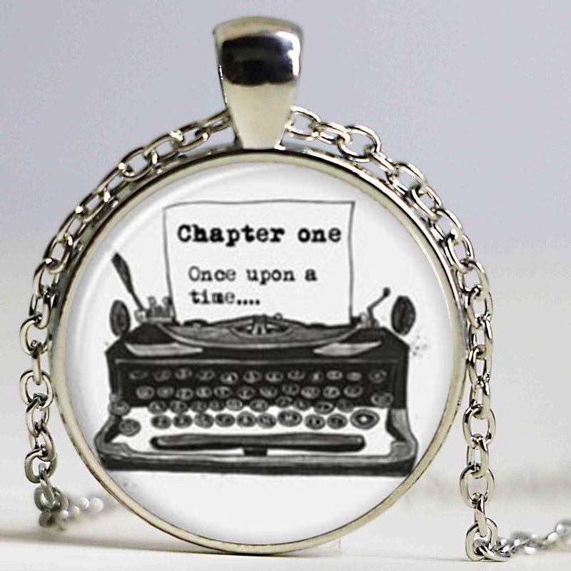 Collar de máquina de escribir envío gratis, collar Vintage, máquina de escribir antigua, collar de escritor, collar de cuento de hadas