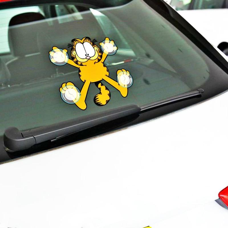 Etie, decoración de coche, divertido Garfield, simulación de ventosa, pegatina para motocicleta, portátil, Honda, Chevrolet, Focus, Polo, Toyota