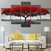 5 piezas árbol rojo con silla impresiones de la lona arte de la pared pintura Modular moderno imagen pinturas decorativas dropshipping. exclusivo. XA2418C