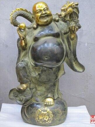 """Huij 008913 13 """"Dragon Ano providencial Pelycosaur Dragão de Bronze Estátua de Buda Maitreya"""