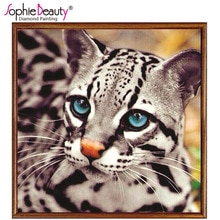 Sophie Beauty Diy Diamond Painting Cross Stitch Full Round Handcraft Cute Blue Eye Little Leopard Needlework Arts Mosaic Crafts