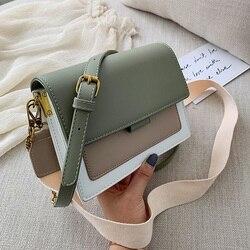 Bolsa de mão de couro feminina, de trespassar, com alça verde, de viagem, de corpo