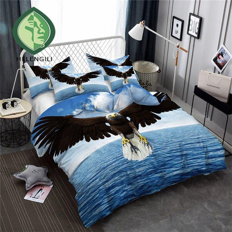 HELENGILI 3D Bedding Set Eagle Print Duvet Cover Set Lifelike Bedclothes with Pillowcase Bed Set Home Textiles #Y-03