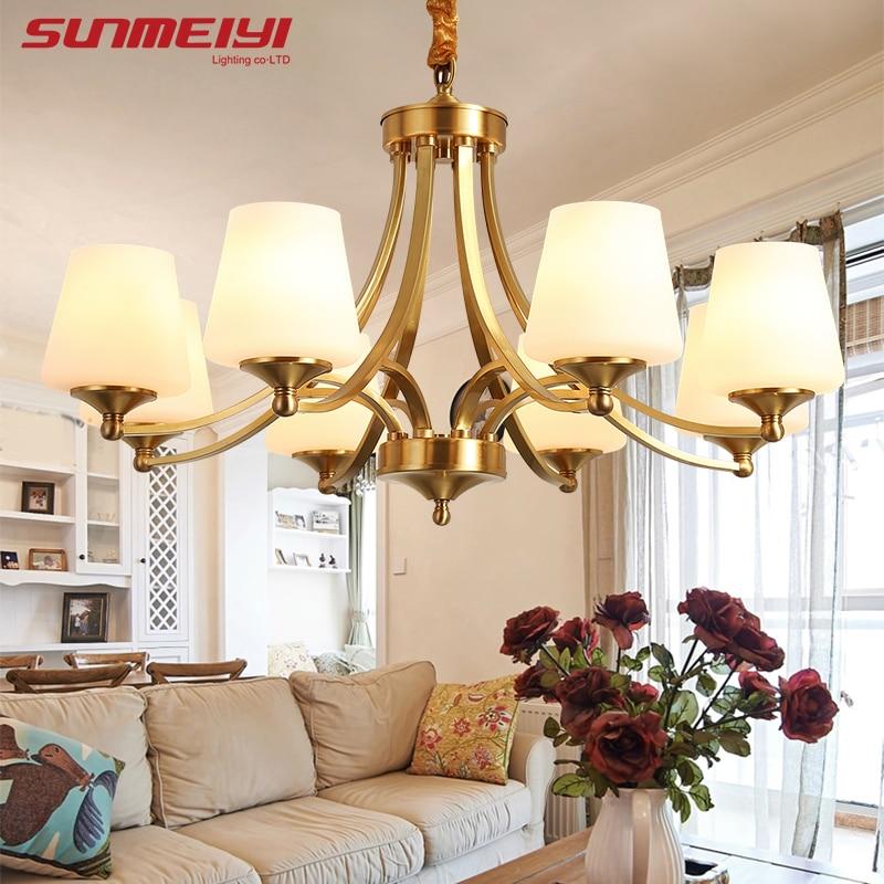 Американский Ретро Медные светодиодные люстры освещение столовая светодиодная подвесная люстра фойе подвесная освет