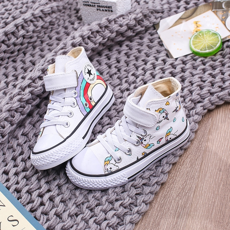 High Toe Unicorn Sneakers Girls 2019 Autumn Spring High Bottom Canvas Boys Shoes Print Rainbow Schoo