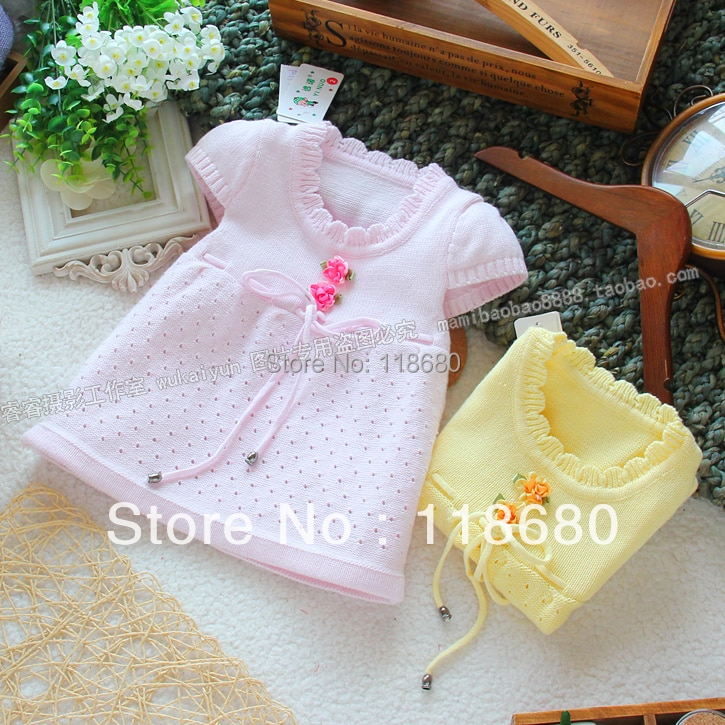 Free shipping Retail new 2015 Spring autumn baby girls sweater kids all-match short sleeves princess sweater cute knitted dress