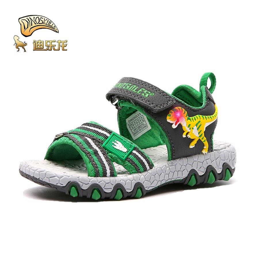 DINOSKULLS-أحذية ديناصور مضيئة LED للأطفال ، صنادل ، أحذية مدرسية ، بمقدمة مفتوحة ، مطاط ، مسامي ، للصيف