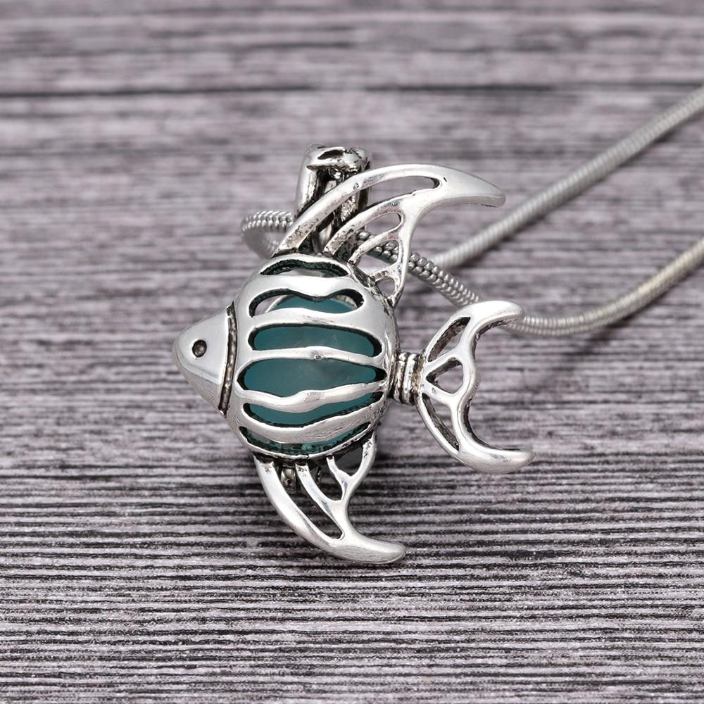 Encanto mar cristal colgante collar ahuecado relicario con diseño de pez collares mujeres joyería regalo