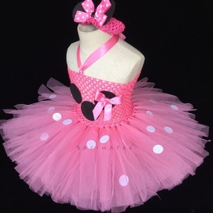 Cute Girls Pink Cartoon Tutu Dress Baby 2Layers Crochet Tulle Dress with White Dots and Flower Headband Kids Party Cosplay Dress