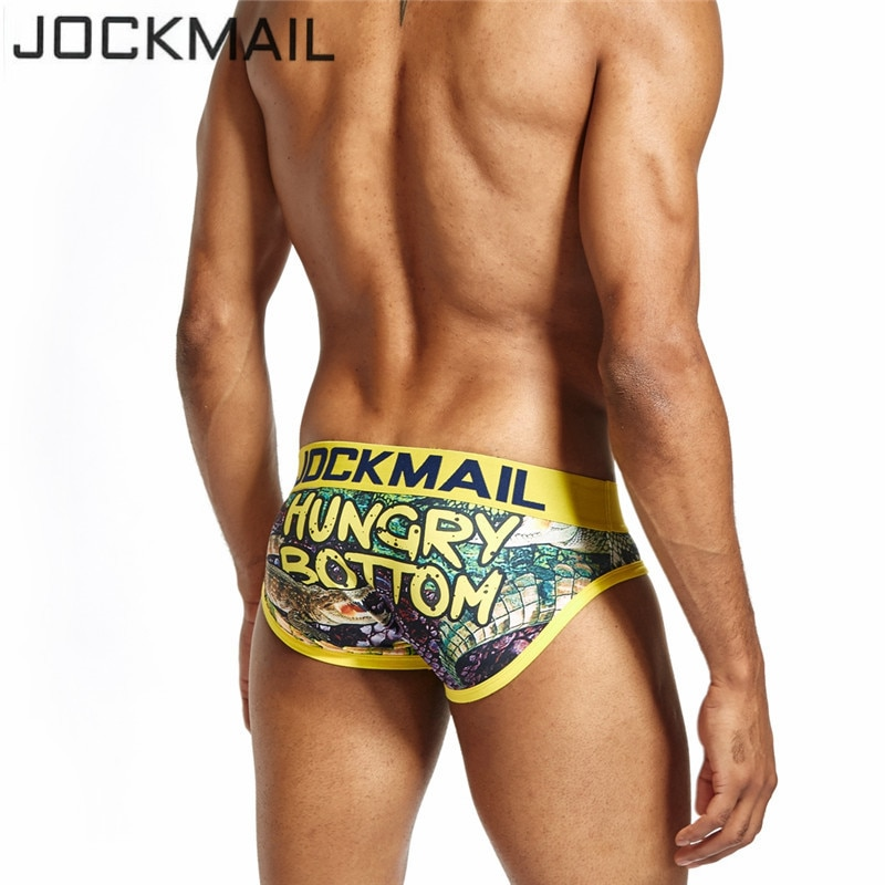 JOCKMAIL Marca Underwear Homens Sexy hot Divertido brincalhão impresso cuecas homens Cueca Gay Underwear calzoncillos desliza Calcinhas calções Masculinos
