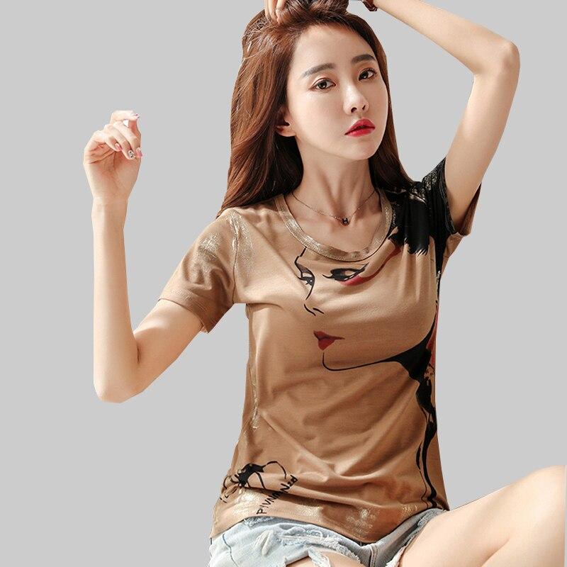 Nueva camiseta estampada de personaje para mujer, Tops de verano 2020, camiseta de manga corta, camiseta informal de algodón blanca para mujer, camiseta para mujer