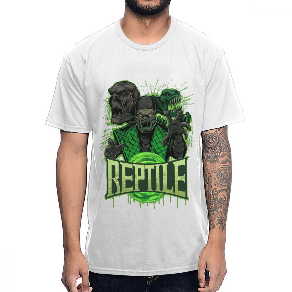 Camiseta de reptil Mortal Kombat para hombre gran algodón Natural S-6XL talla grande Homme camiseta al por mayor